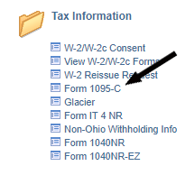 Form 1095-C link is within Tax Information section