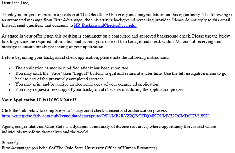 First Advantage Background Check - Human Resources at Ohio State