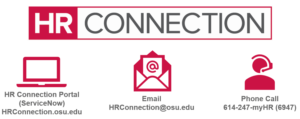 HR Connection graphic that shows contact methods of hrconnection.osu.edu, hrconnection@osu.edu or 614-247-myHR (6947)