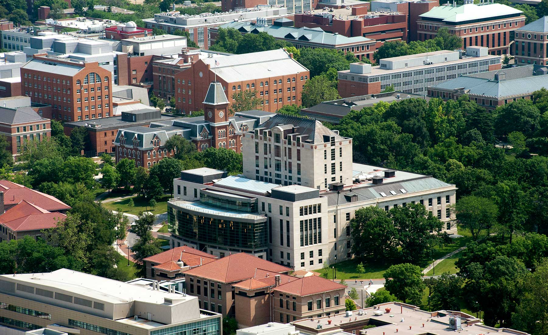 aerial view of Thompson Library