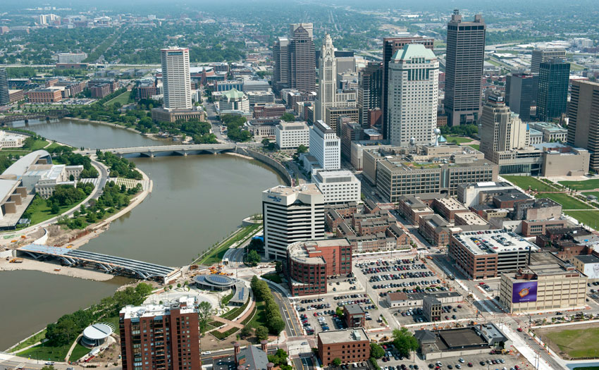 Aerial view of downtown Columbus