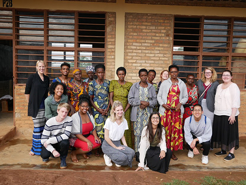 Hollie and students with Women's cooperative.